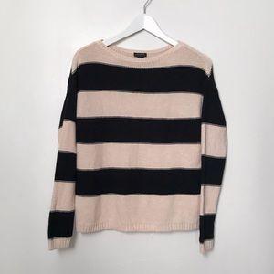 Ann Taylor Black Cream Striped Sweater. Sz XS